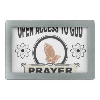 open access prayer rectangular belt buckle