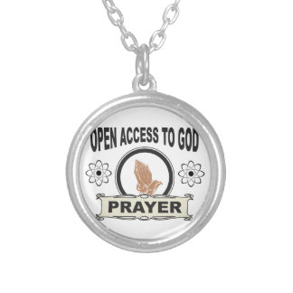 open access prayer silver plated necklace