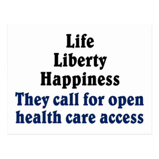 Open access to health care postcard