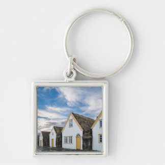 Open air museum of Glaumbaer Silver-Colored Square Keychain