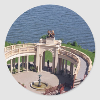 Open arms for peace and calm orangerie schwerin classic round sticker