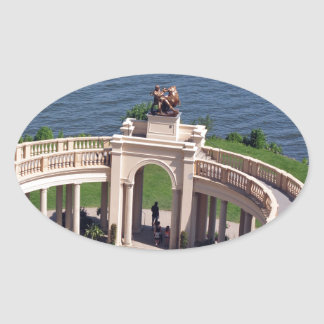 Open arms for peace and calm orangerie schwerin oval sticker
