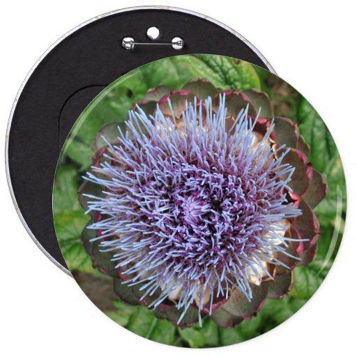 Open Artichoke Flower. Purple. 6 Inch Round Button