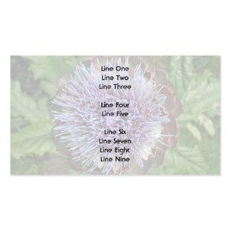 Open Artichoke Flower. Purple. Business Card