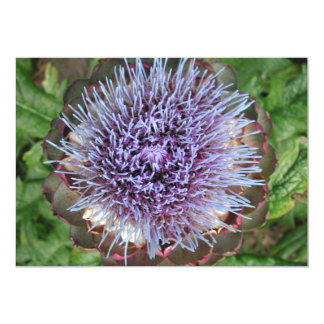 Open Artichoke Flower. Purple. Card