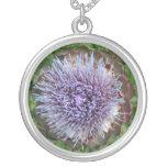 Open Artichoke Flower. Purple. Custom Necklace