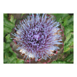 Open Artichoke Flower. Purple. Personalized Invite