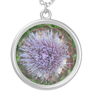 Open Artichoke Flower. Purple. Round Pendant Necklace