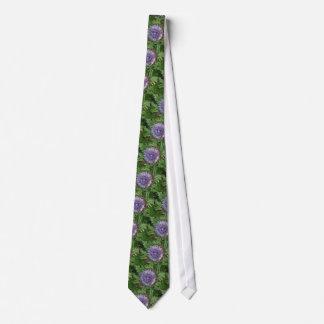 Open Artichoke Flower. Purple. Tie