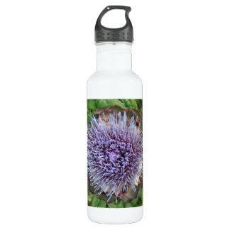Open Artichoke Flower. Purple. Water Bottle