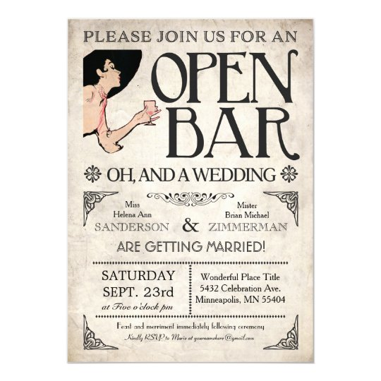 Funny Wedding Invite: Open Bar And A Wedding Invitations