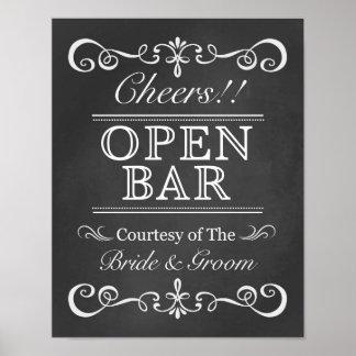 Open Bar Sign Chalkboard Wedding Sign Poster
