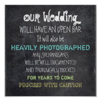 Open Bar Wedding Sign Caution Funny