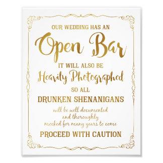 Open bar wedding sign gold glitter, wedding poster photo print