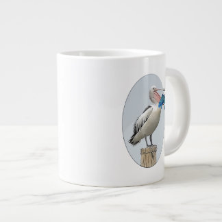 Open Beaked Pelican with Fish Large Coffee Mug