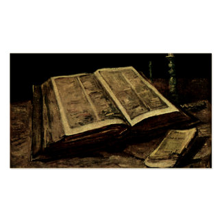 Open Bible Book with Candles - van Gogh Double-Sided Standard Business Cards (Pack Of 100)