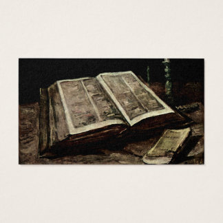 Open Bible Book with Candles - van Gogh Business Card