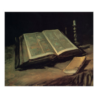 Open Bible Still Life Poster