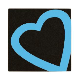 Open, blue heart wooden coaster. wood coaster