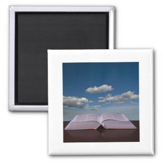 Open Book and Sky 2 Inch Square Magnet