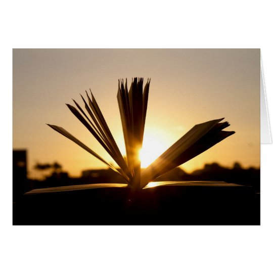 Open Book and Sunset Photograph Card