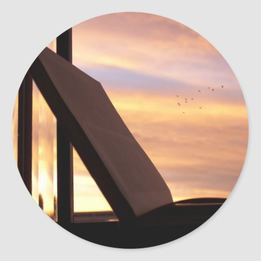 Open Book and Sunset Photograph Classic Round Sticker