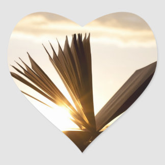 Open Book and Sunset Photograph Heart Sticker