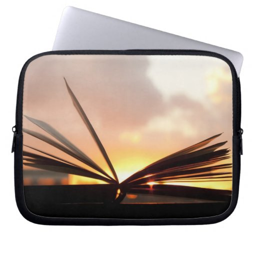 Open Book and Sunset Photograph Laptop Computer Sleeve