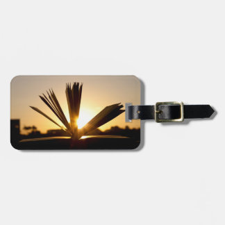 Open Book and Sunset Photograph Luggage Tags