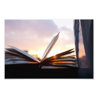 Open Book and Sunset Photograph