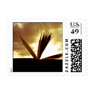 Open Book and Sunset Photograph Postage