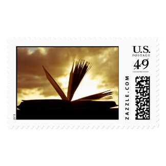 Open Book and Sunset Photograph Stamps