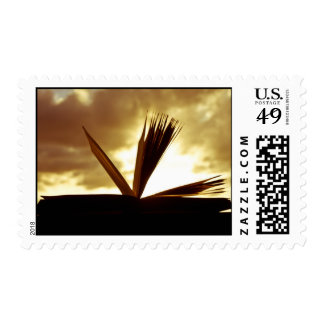 Open Book and Sunset Photograph Postage Stamps