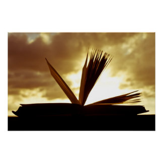 Open Book and Sunset Photograph Poster