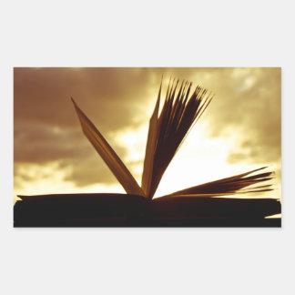 Open Book and Sunset Photograph Rectangular Sticker