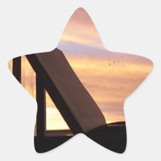 Open Book and Sunset Photograph Star Sticker