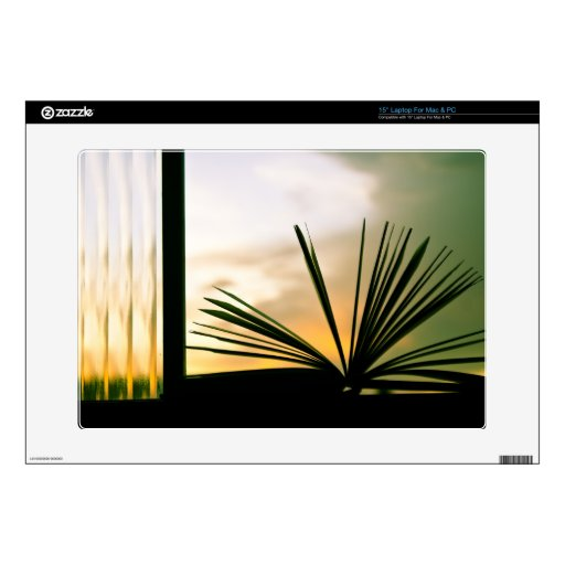 """Open Book and Sunset Photography 15"""" Laptop Decal"""