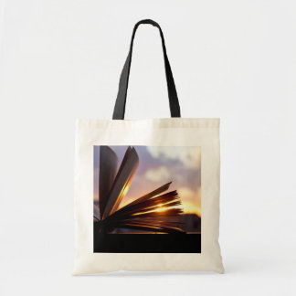 Open Book and Sunset Photography Budget Tote Bag