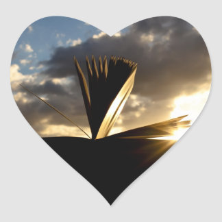 Open Book and Sunset Photography Heart Sticker