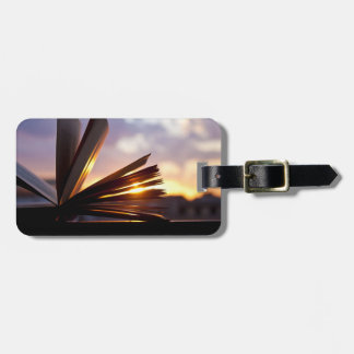 Open Book and Sunset Photography Luggage Tag