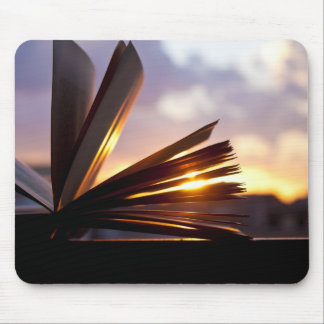 Open Book and Sunset Photography Mouse Pad
