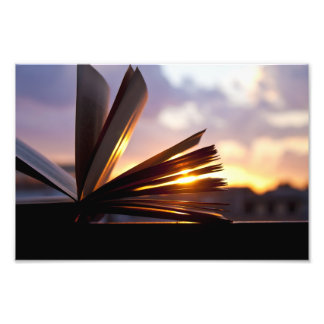 Open Book and Sunset Photography Photo Print
