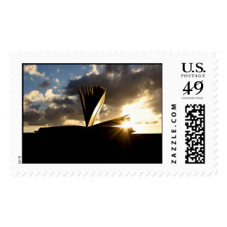 Open Book and Sunset Photography Postage Stamps