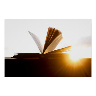 Open Book and Sunset Photography Print