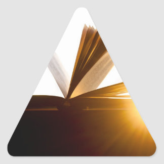Open Book and Sunset Photography Triangle Sticker