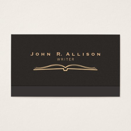 Writer Open Book Brown Suede Look Business Cards