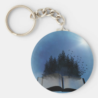 Open Book Forest Keychain