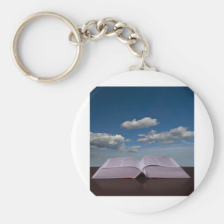 open book basic round button keychain