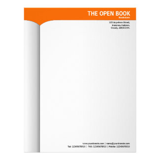 Open Book - Orange FF6600 Letterhead