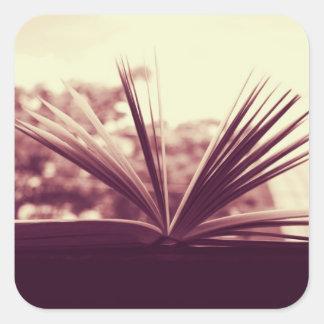 Open Book Photograph Square Sticker